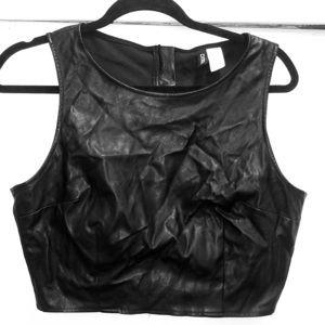 Vegan leather crop shell
